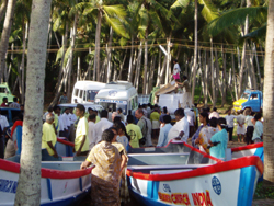 Boats distributed in Jesus' Name in tsunami zone