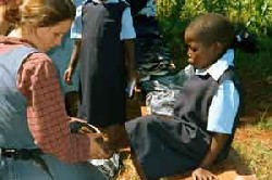 Foot washing in Zambia is one part of ministry for a Teen Missions Group.