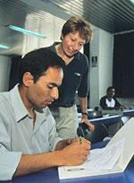 Translation workers go through 'boot camp' training.