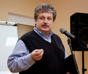 Sergey Rakhuba speaks in Ukraine (file photo by Russian Ministries).