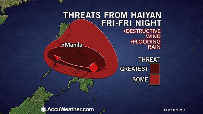 Typhoon Haiyan posing threat to mission team