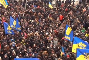 Screen shot from Russian television of protestors in Ukraine.