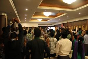 Indigenous pastors worship at Global Advance's training session.  (Image courtesy Global Advance)