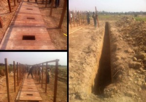 Water for Good teams recently dug latrines for refugees at the airport.  (Image courtesy Water for Good)