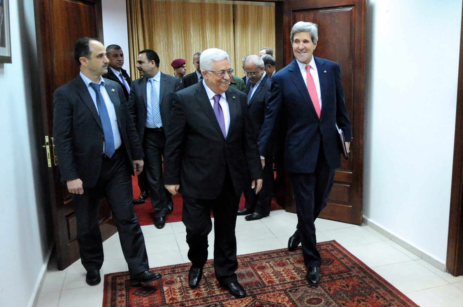 Palestinian Authority President Mahmoud Abbas welcomes U.S. Secretary of State John Kerry in the West Bank. (State Department Photo/Public Domain)