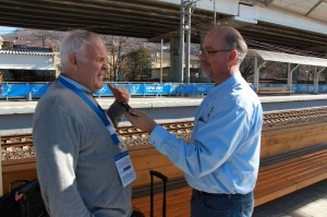 Richard Page and Greg Yoder at the train station in Sochi.