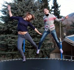 Teen girls enjoy the fun zone in the mountain cluster.