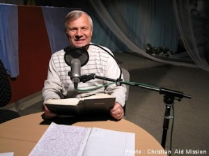 Slavik Radchuk, Ukrainian evangelist and area director for the former Soviet Union at Christian Aid Mission, delivers a message for his Christian radio broadcast. Now through 1,000 towers, his radio programs are transmitted from Kiev to an area encompassing 100 million people in Ukraine, Moldova, Belorussia, western Russia, Poland, the Czech Republic, Germany, and many other countries. (Image, caption courtesy Christian Aid)