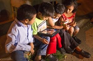 "Children watching the ""JESUS"" film  (Photo courtesy The JESUS Film Project)"