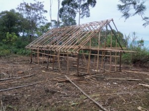 Skeleton of the school building being built in the Pal community.  (Image courtesy Chris and Maggie Hostetter via NTM blog)