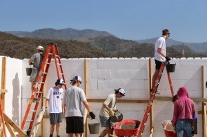 Walls go up on the Community Transformation Center (CTC).  (Image courtesy Orphan's Heart)