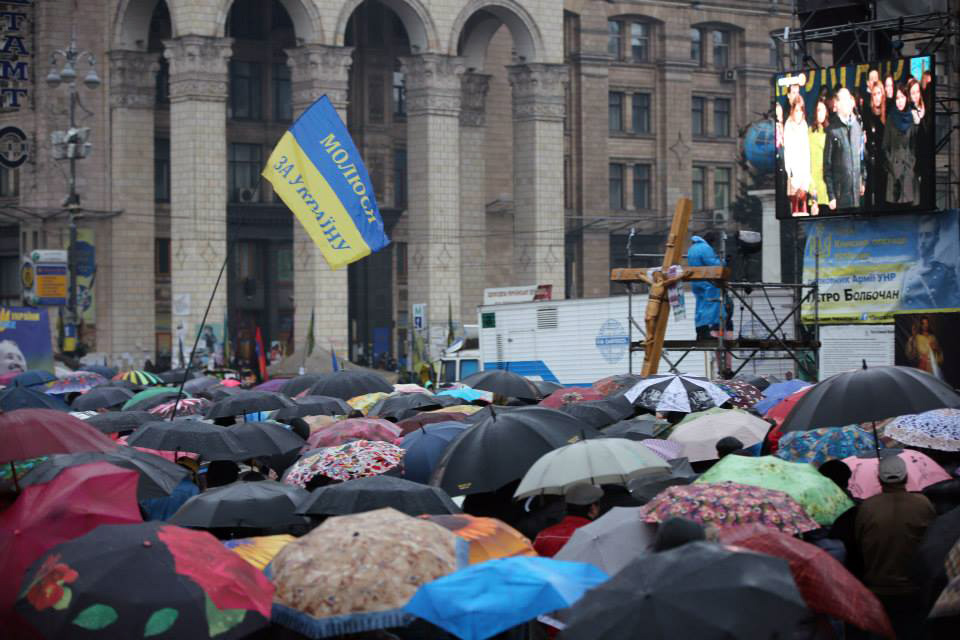 Ukrainians gathered on the Maidan square in central Kiev, and in city squares around the country, for prayer meetings to ask God for His hand to be upon the situation in Ukraine.