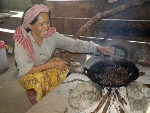 Frying crickets to sell (Photo by Food for the Hungry)