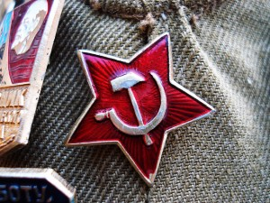 In Crimea, the letters U-S-S-R and this symbol were spray-painted in red on the Holocaust Museum. (Photo cred: Hugo via Flickr)