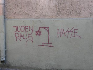 Anti-Semitic graffiti in Lithuania.  (Photo cred: Beny Shlevich via Flickr)