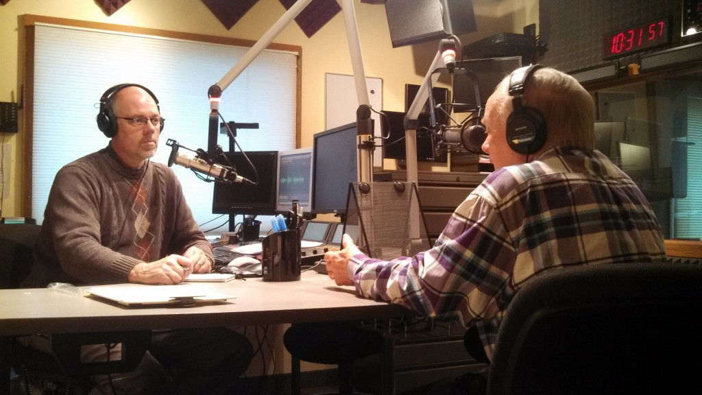 MNN's Greg Yoder and RHM's Ron Hutchcraft in the Cornerstone University Radio studios.