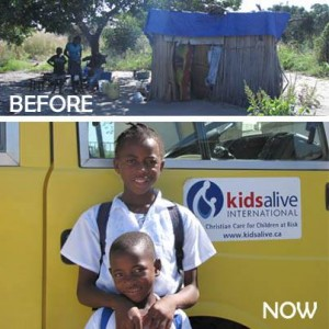Top picture: Ngonde & Mutango's home before KidsAlive Bottom picture: Ngonde & Mutango are now happy and hopeful.  (Image courtesy Kids Alive)