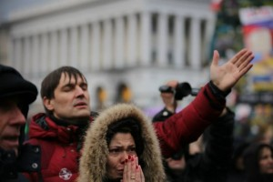 Last month, Ukrainians gathered in Kiev to pray for their nation.  (Image courtesy Russian Ministries)