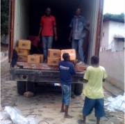 (Stock photo FWHL warehouse unload, For Haiti With Love)