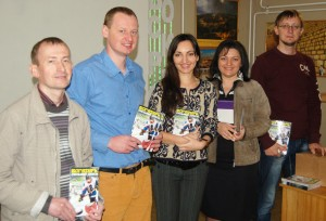 SWW team members with copies of the magazine.  (Image courtesy Russian Ministries)