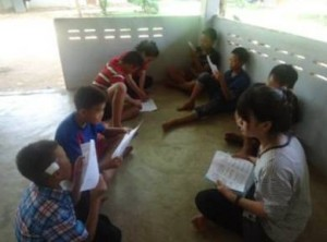 Kids gather for the daily study of God's Word.  (Image courtesy AMG)