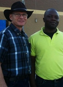 Jim Hocking and Farel Ndango of Water for Good. (Image from Farel Ndango's Facebook page)