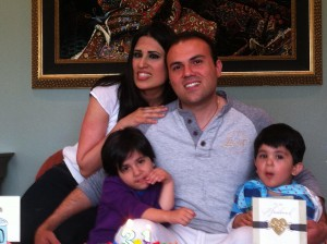 Saeed, his wife Nagmeh, and their two children.