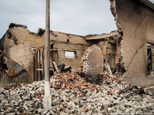 Exploding shells are destroying homes and churches in the Donetsk region, where Ukrainian security forces and pro-Russian rebels have been battling for control since March.  (Image, caption courtesy Christian Aid)