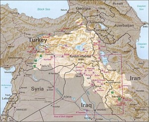 Kurdistan territory covers four nations: Iraq, Iran, Turkey and Syria.  (Map courtesy CIA)