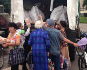 "Items received through ""I Care"" Refugee Program distributed in eastern Ukraine.  (Image courtesy Russian Ministries)"