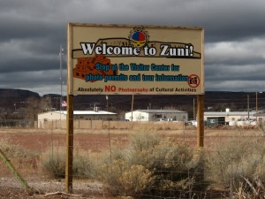 Entrance to the Zuni Indian Reservation in New Mexico.
