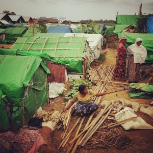 Thanks to donor support, 510 Rohingya families living in IDP camps now have green tarpaulins and bamboo to provide much-needed shelter during the rainy season. (Image, caption courtesy Partners)