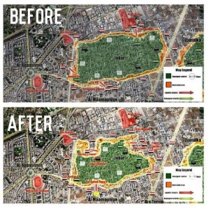 Before-after battle map of the Jobar District.  (Image cred: @Karim Faour via Syrian Perspective Facebook page)