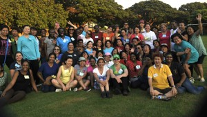 Group photo after getting-to-know-you games conclude. (Photo, caption courtesy Haggai)