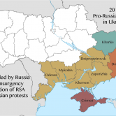 A map of the 2014 pro-Russian protests and unrest in Ukraine, by oblast. Severity of the unrest, at its peak, is indicated by the coloring. (Map cred: RGloucester via WikimediaCommons)