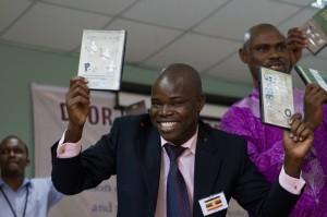 DOOR staff in Africa celebrate the translation of evangelism, discipleship and fellowship materials.  (Photo cred: DOOR)