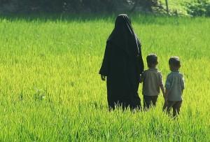 Muslim woman and kids