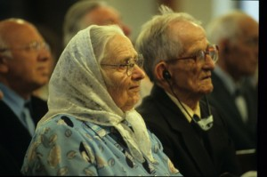 Amish couple in church