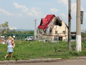 Damage by Russian sepratists. (SGA photo)