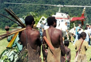 Visiting a Hewa village on a previous occasion. (Photo and caption courtesy of New Tribes Mission).