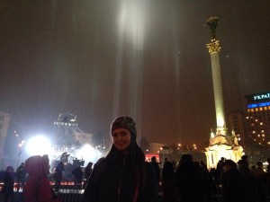 Marina Parfinskaya at the memorial for the Heavenly 100 at Maidan Square (Photo by Marina Parfinskaya).