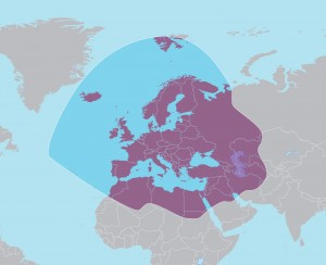 The Türksat 4A broadcasts to Turkish-speaking audiences in Turkey, Europe and Central Asia.  (Coverage map courtesy of SAT-7)