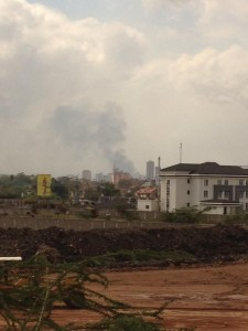 Smoke rising from the Westgate Mall area in Nairobi, Kenya, after the September 2013 attacks and rescue efforts.  (Photo, caption courtesy Kul Wadhwa via Wikimedia Commons)