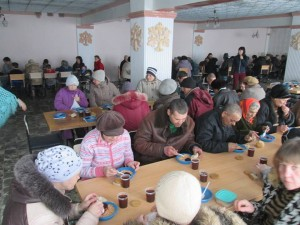 The U.N. reports 1.4 million internally displaced people in Ukraine. These are some of them being fed by Mission Eurasia supported churches. (Photo by Mission Eurasia)