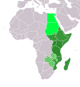 green: UN subregion dark green: East African Community very light green: Central African Federation (defunct) light green: geographic, including above