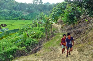 Hiking between Chakma tribe villages in rural Bangladesh is long and arduous, but FMI-supported Pastor Arjun regularly treks between ministry sites in three villages to evangelize, disciple believers, and establish new churches. (Photo courtesy Forgotten Missionaries International)