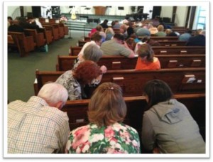 More than 70 people attended week 8 of the More Jesus prayer effort for the persecuted church at Bayview Wesleyan Church in Traverse City, Michigan. (Photo by Dave Kase)