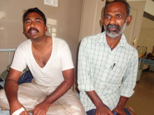 Pastors Arul and Omkar had to be hospitalized for their injuries. (Photo and caption by VOM)