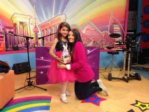 (Photo courtesy SAT-7. Myriam's best friend Sandra was invited to the SAT-7 Lebanon set)