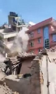 Screen shot from  Robindra Basnet's vidoe on Facebook showing the May 13, 2015 earthquake in Nepal.